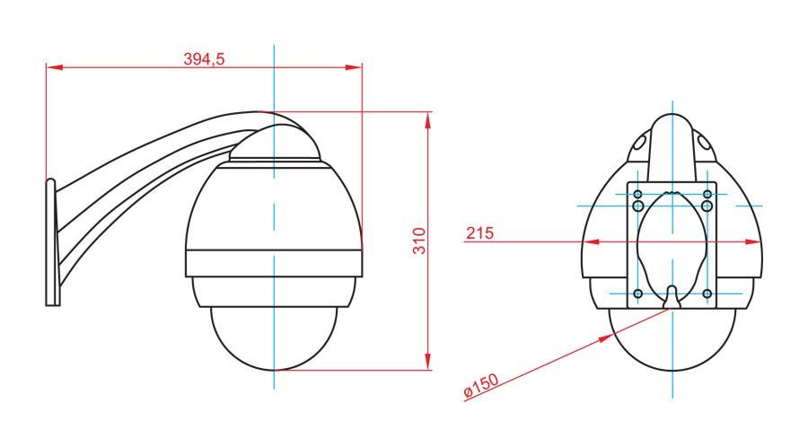Габаритный чертеж и размеры АСТРОН-5A-IQ-PTZ-132