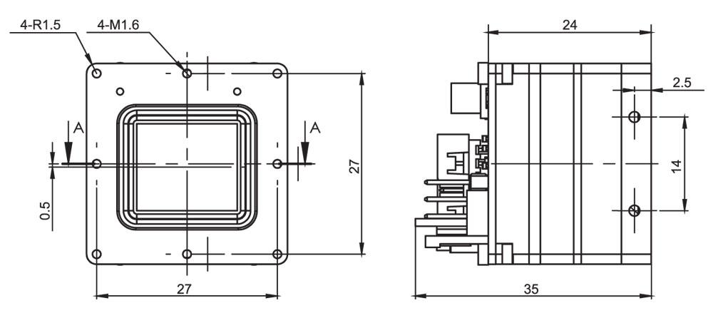 Габаритный чертеж тепловизионного неохлаждаемого модуля АСТРОН-640В17
