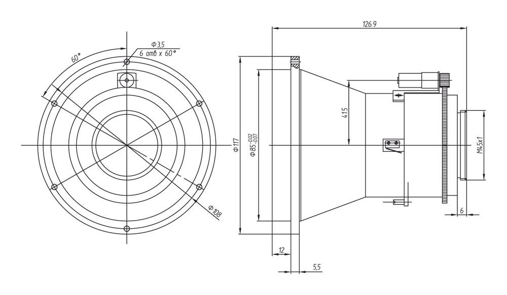 Габаритный чертеж и размеры тепловизионного моторизованного объектива АСТРОН-120Ф14