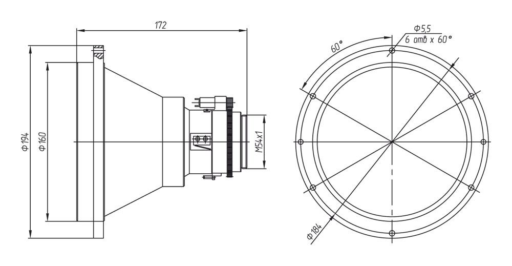 Габаритный чертеж и размеры тепловизионного моторизованного объектива АСТРОН-200Ф14