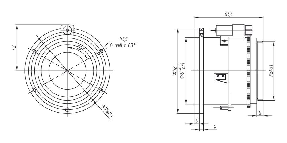 Габаритный чертеж и размеры объектива тепловизионного германиевого АСТРОН-40Ф08