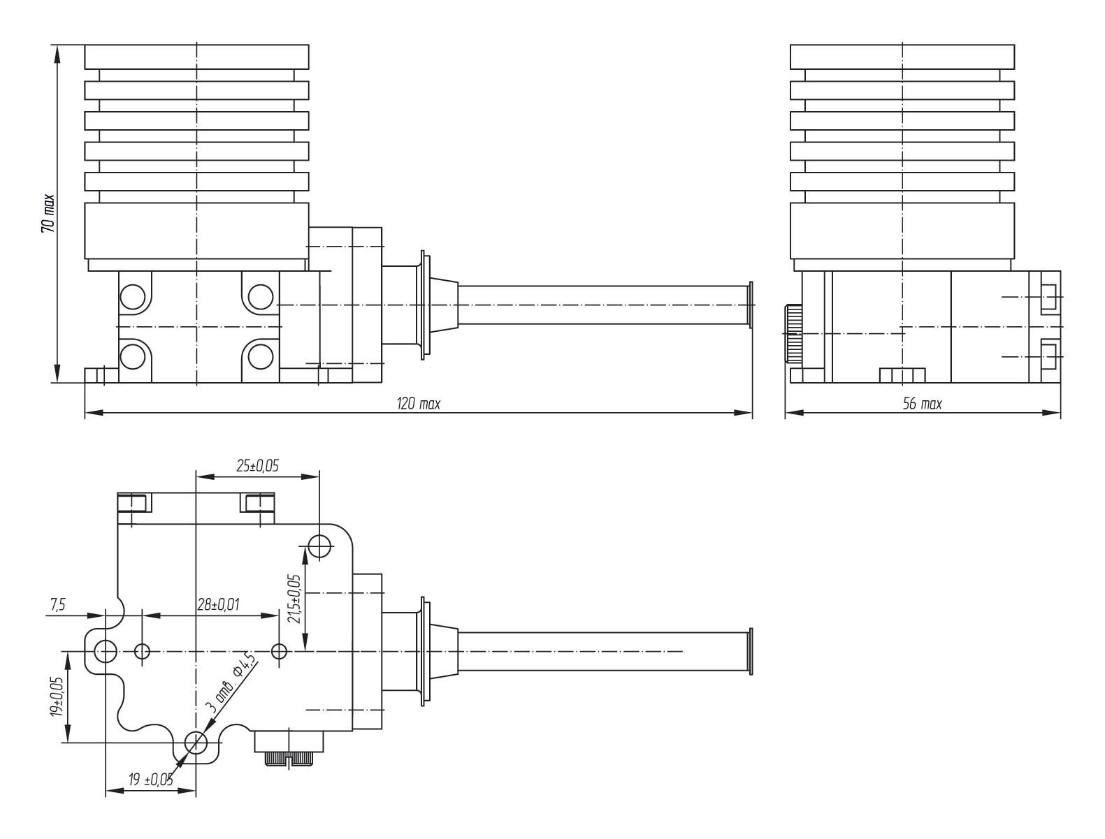 Габаритный чертеж микрокриогенной системы АСТРОН-МКС500