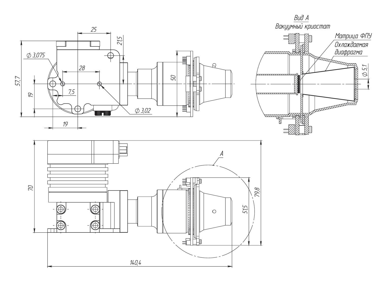 Габаритные чертежи и размеры матричного фотоприемного модуля АСТРОН-640КРТ25А35