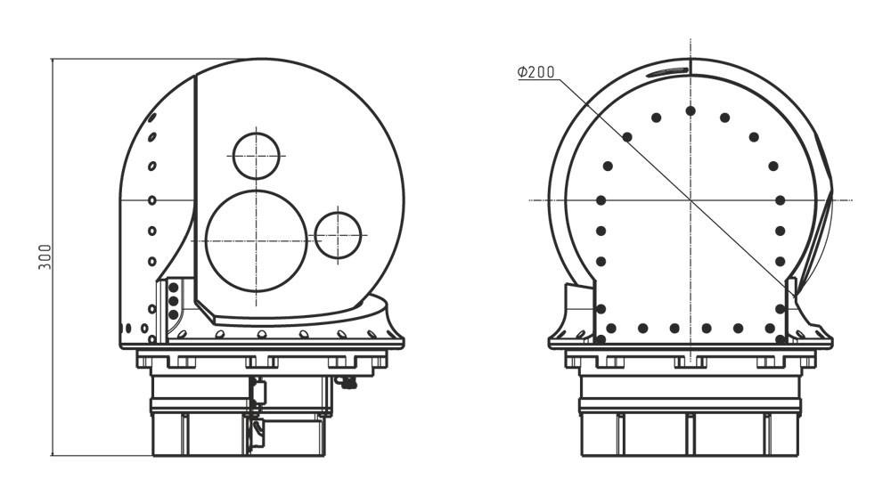 Габаритные чертежи гиростабилизированной платформы оптико-электронных систем ГОЭС-200