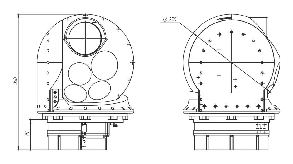 Габаритные чертежи гиростабилизированной платформы оптико-электронных систем ГОЭС-250