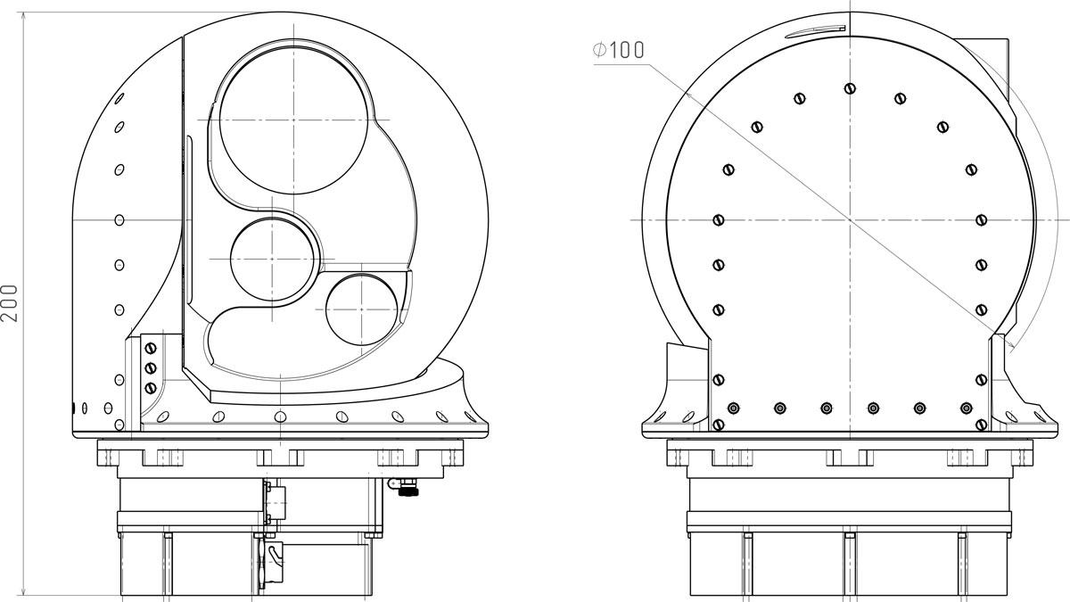 Габаритные чертежи гиростабилизированной платформы оптико-электронных систем ГОЭС-100