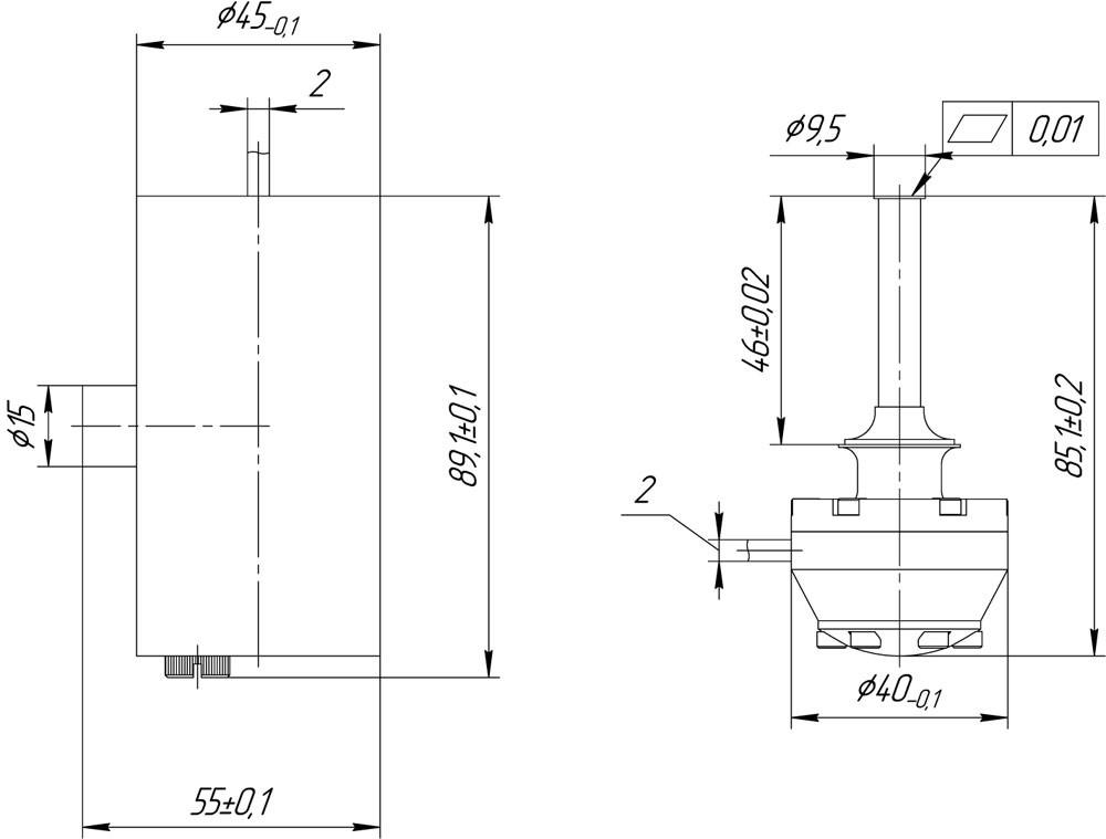 Габаритный чертеж микрокриогенной системы АСТРОН-МКС400СЛ