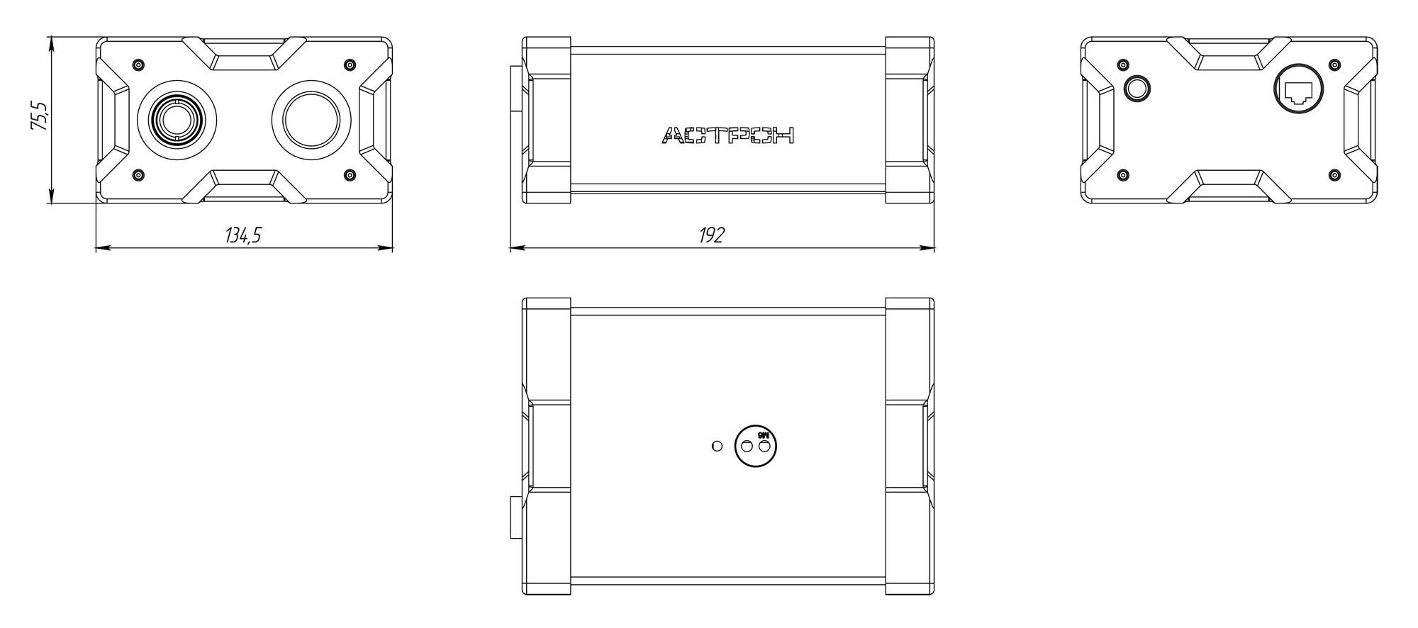 Габаритные чертежи Тепловизионно-телевизионного регистратора определения температуры тела в потоке людей АСТРОН-ПTР2020